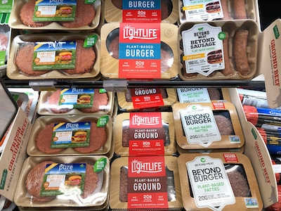 Plant-based meats for sale at the grocery store